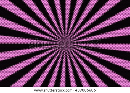 Pink and black rays from the middle with hexagonal pattern
