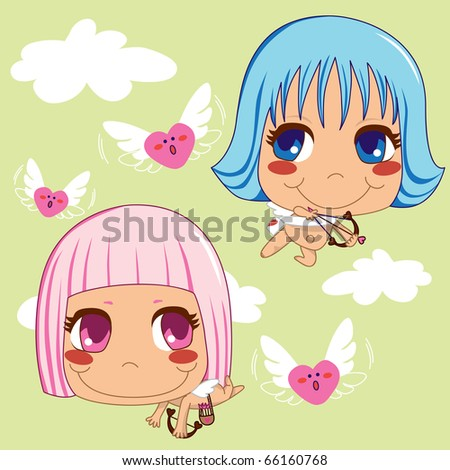 Pink and Blue haired Cupid helpers hunting flying hearts of love for Saint Valentine's day celebration.