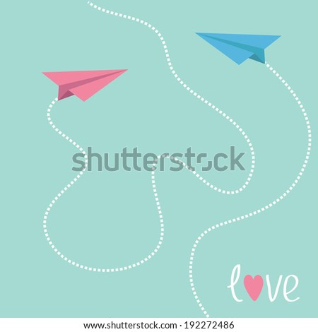 Pink and blue origami paper planes. Dash heart in the sky. Love card. Rasterized copy - stock photo