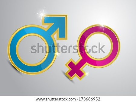 Pink and blue symbols of men and women in gold on a gray background