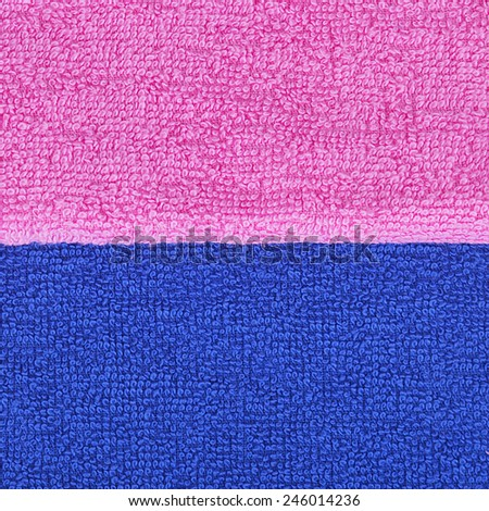 Pink and blue towel, boy and girl, texture, colorful background - stock photo