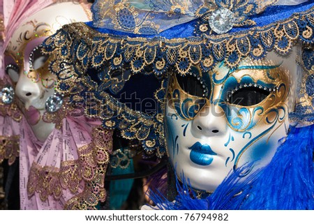 pink and blue venetian carnival masks - stock photo