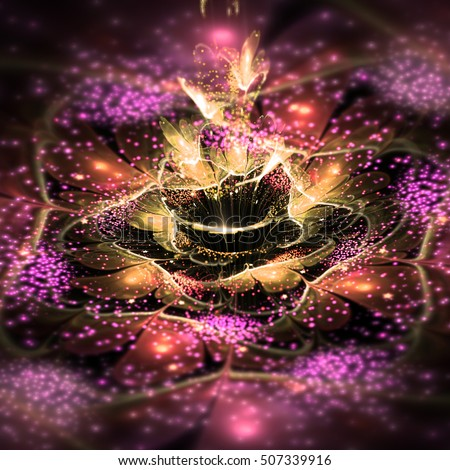 Pink and gold fractal flower, digital artwork for creative graphic design