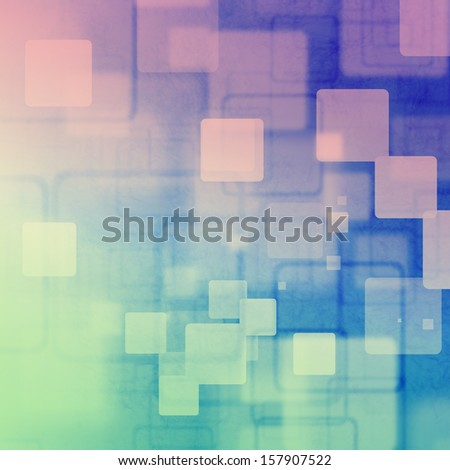 Pink and green square bokeh on purple and blue background - stock photo