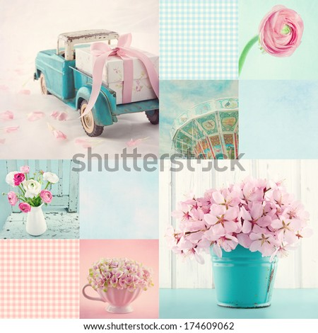 Pink and light blue tone collage of flowers and vintage decorative items and backgrounds - stock photo