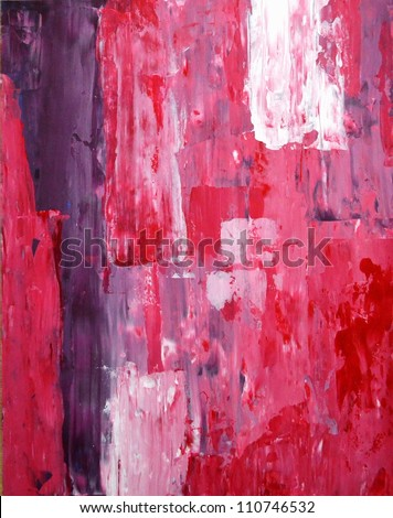 Pink and Purple Abstract Art Painting - stock photo