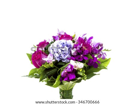 Pink and purple bouquet on white - stock photo