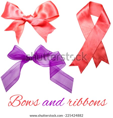 pink and purple bows and ribbons - stock photo