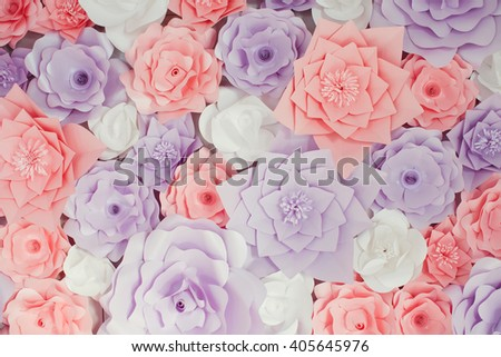 pink and purple paper flowers decor
