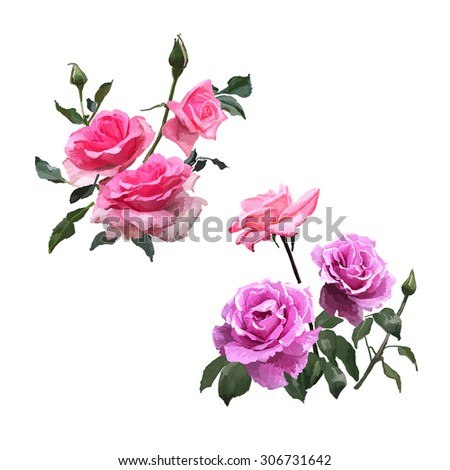 Pink and purple roses bouquet of hand-painted canvas, oil, exquisite hand-painted roses, romantic hand-painted vivid flowers - stock photo