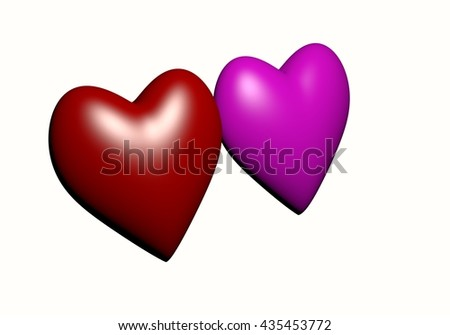 Pink and Red heart isolated on white background, red heart-shaped. hearts 3D rendering.Valentine's Day and Love Symbol. Couple of  Heart Isolated on White Background  - stock photo