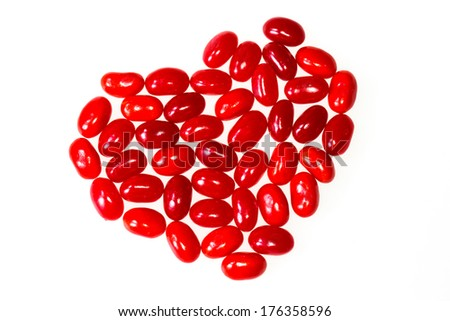 Pink and red jelly beans candy for Valentine's day