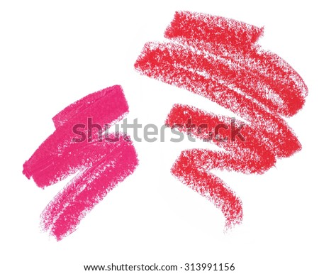 Pink And Red Lipstick Swatches On White