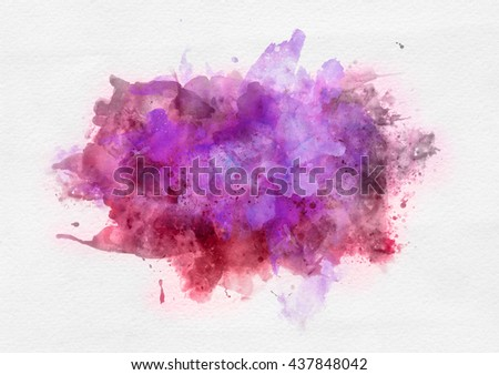 Pink and red watercolor paint banner with random brushstrokes as a central band over textured white paper with copy space for a design template - stock photo