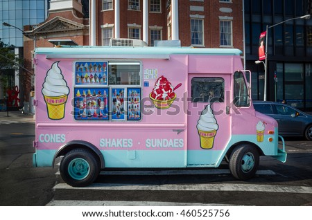 Pink and teal ice cream shake sundae truck van on a street in New York City - July 29, 2015, Battery Plaza, New York City, NY, USA
