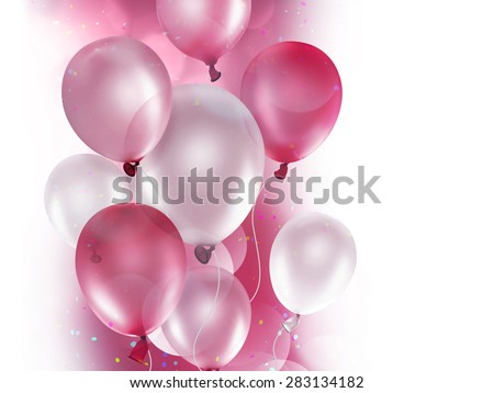 pink and white balloons on light background - stock photo