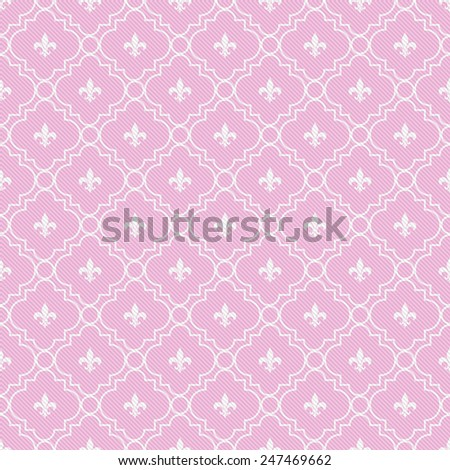 Pink and White Fleur-De-Lis Pattern Textured Fabric Background that is seamless and repeats - stock photo