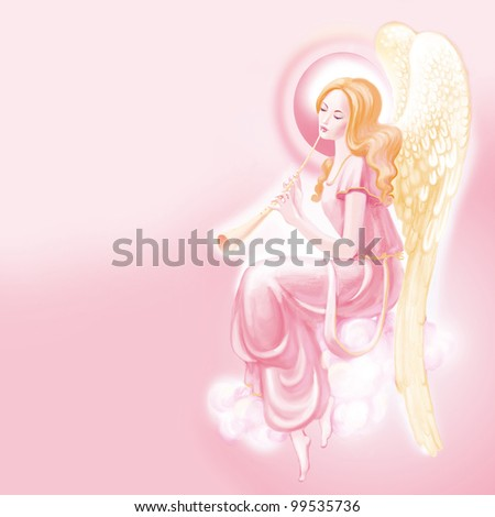 Pink angel on a blue background with candle - stock photo