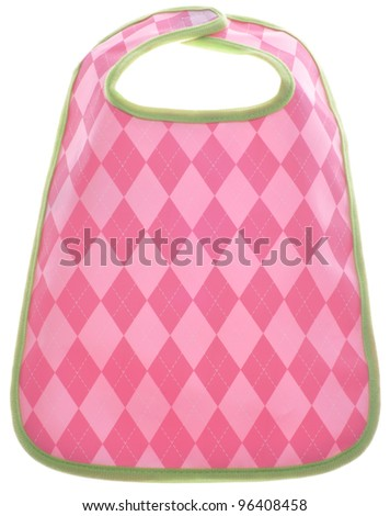 Pink Argyle Baby Girl Bib Isolated on White with a Clipping Path. - stock photo