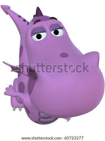 pink baby dragon big face - stock photo