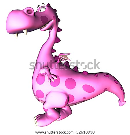 pink baby dragon standing up - stock photo