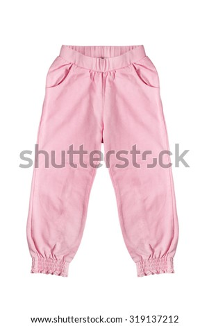 Pink baby trousers on white background