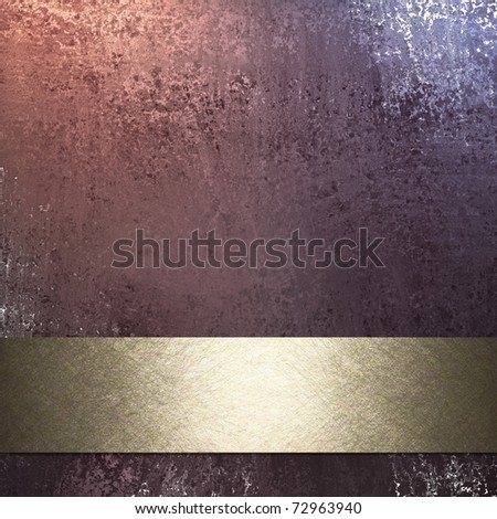 pink background with old grunge texture, graphic art layout design with copy space, and gold ribbon stripe for title or text - stock photo