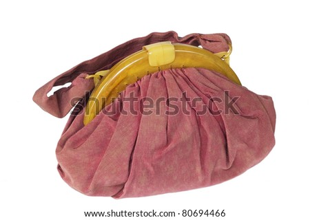 pink bag isolated on white background - stock photo