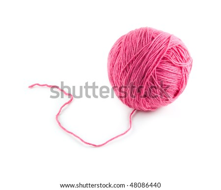Pink ball of wool on a white background. - stock photo