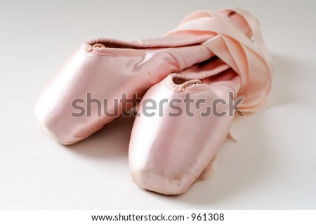 pink ballet shoes - stock photo