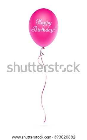 Pink balloon with the inscription happy birthday - stock photo