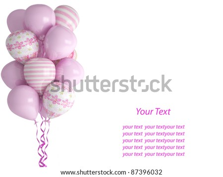 Pink balloons isolated on white background. Celebration concept for little baby girl. 3d render. Isolated on white background. Greeting Card with place for your text.