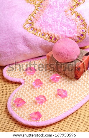 pink bath towel, natural soap, bomb salt - stock photo