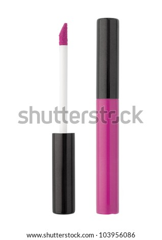 pink beautiful gloss for lips - stock photo