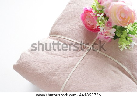 pink bed sheet for interior and laundry image - stock photo