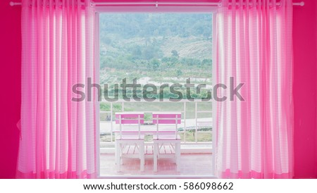 Pink Blinds Living Room Stock Photo (Safe to Use) 586098662 ...