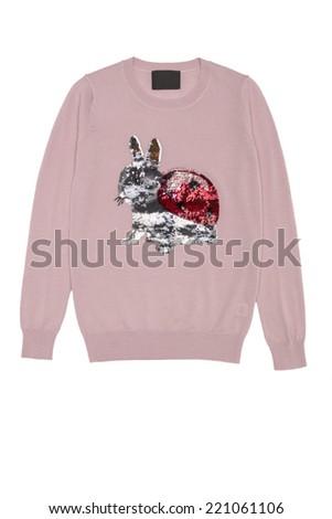 pink blouse with rabbit ladybug on a white background - stock photo