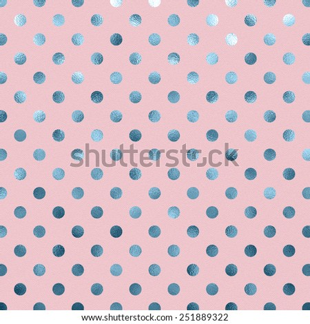 Pink Blue Metallic Foil Polka Dot Pattern Swiss Dots Texture Paper Color Background - stock photo