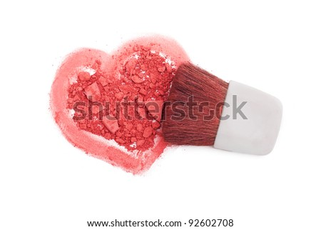 Pink blush with brush and heart isolated on white - stock photo