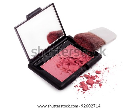 Pink blush with brush and mirror isolated on white - stock photo