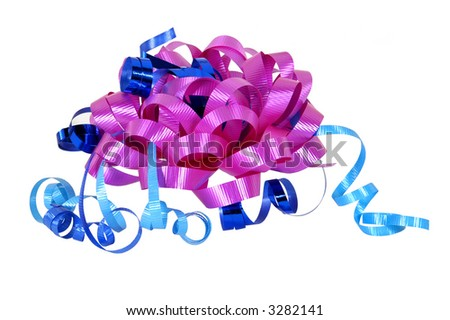 pink bow and blue ribbons on white background - stock photo