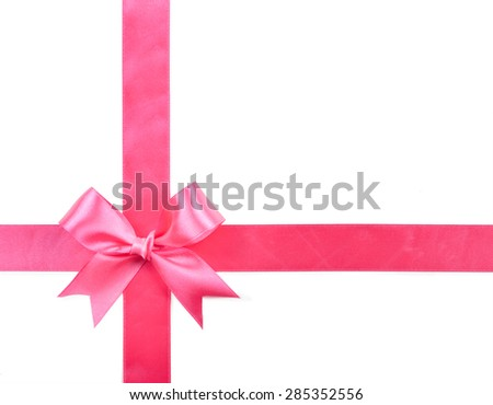 pink bow isolated on a white background.