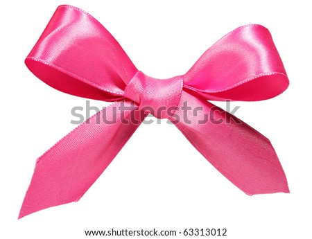 pink bow isolated on white - stock photo