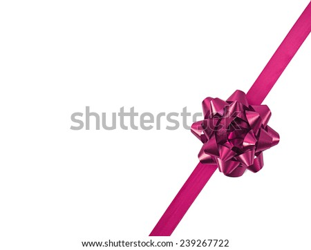 Pink bow with ribbon isolated on white background - stock photo