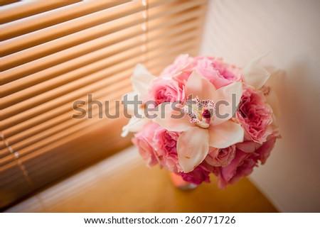 Pink bridal bouquet - stock photo