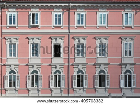 Pink Building With Classic Style Windows in Trieste
