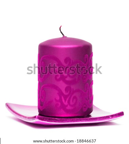 Pink candle stock images royalty free images vectors shutterstock pink burning candle on white background sciox Images