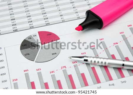 pink Business Charts with marker pen - stock photo