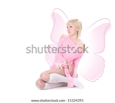 pink butterfly-girl - stock photo