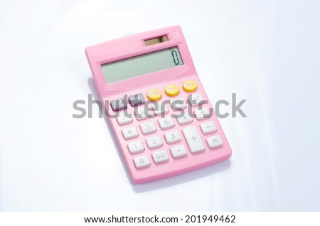 Pink calculator isolated on white. - stock photo